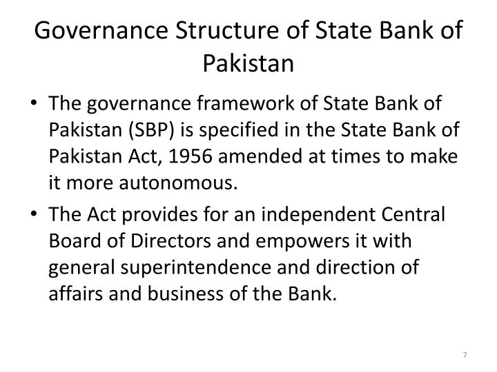 Governance Structure of State Bank of Pakistan