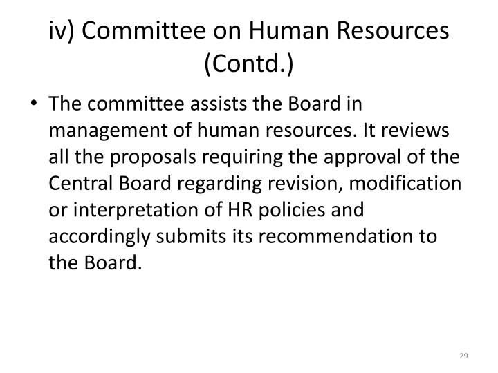 iv) Committee on Human Resources (Contd.)