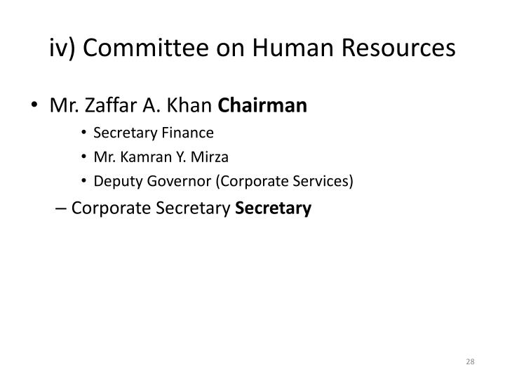 iv) Committee on Human