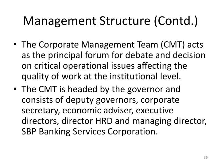 Management Structure (Contd.)