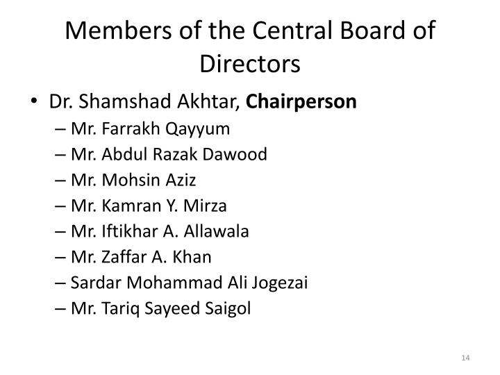 Members of the Central Board of