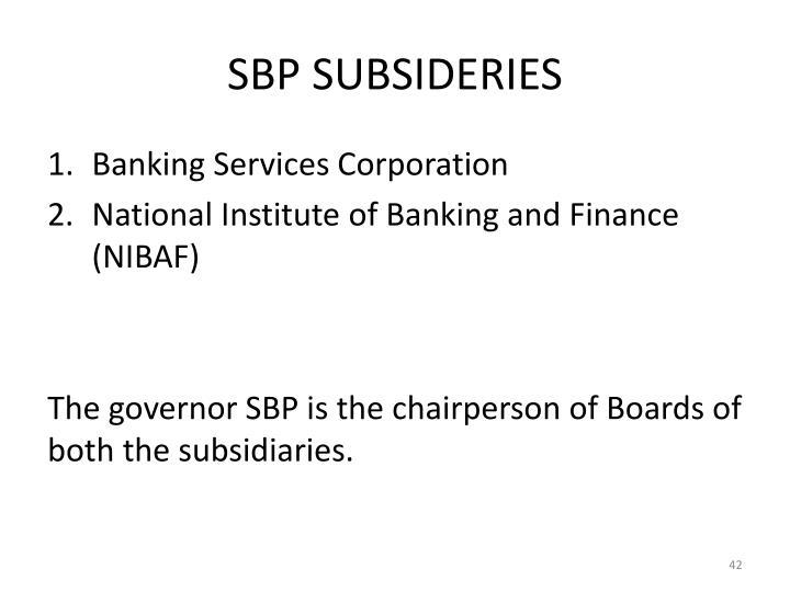 SBP SUBSIDERIES