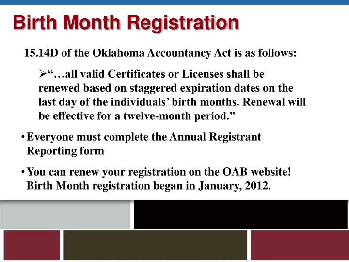 Birth Month Registration
