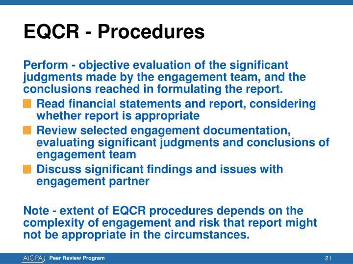 EQCR - Procedures