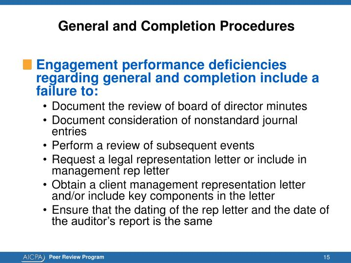 General and Completion Procedures