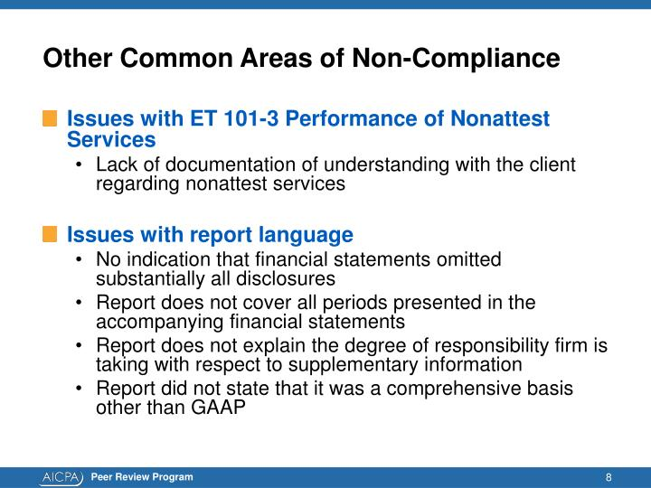 Other Common Areas of Non-Compliance