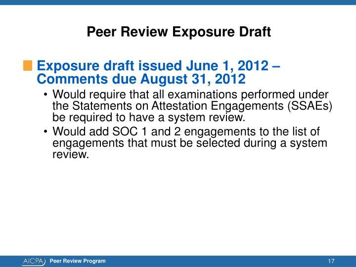 Peer Review Exposure Draft