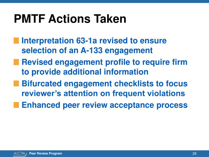 PMTF Actions Taken