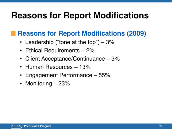 Reasons for Report Modifications