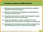 creating an effective mbo program