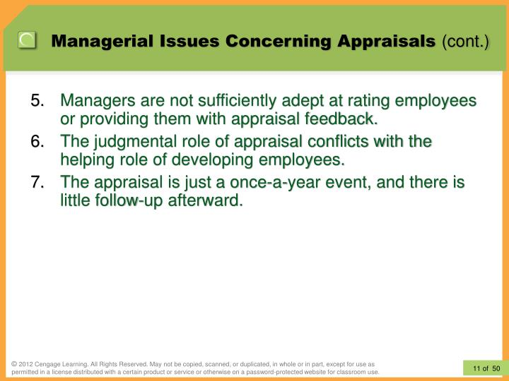 Managerial Issues Concerning Appraisals