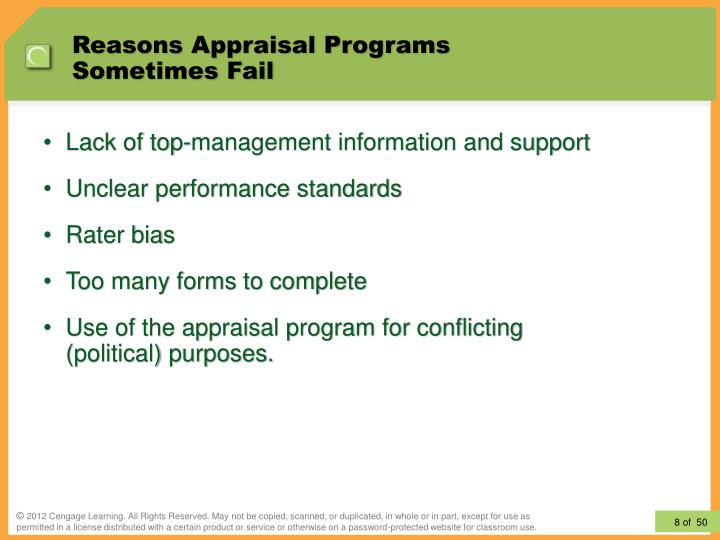 Reasons Appraisal Programs