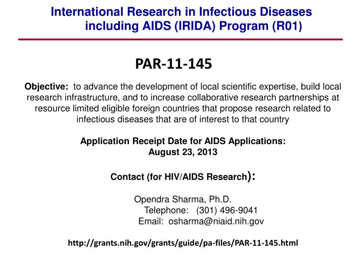 International Research in Infectious Diseases including