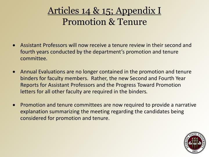 Articles 14 & 15; Appendix I
