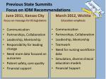 previous state summits focus on iom recommendations