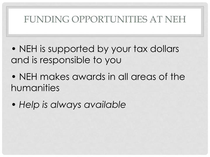 Funding opportunities at NEH