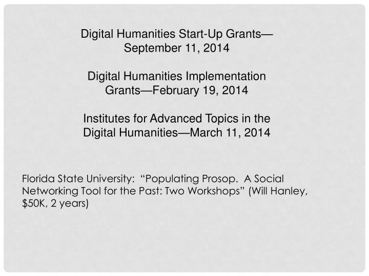 Digital Humanities Start-Up Grants—September