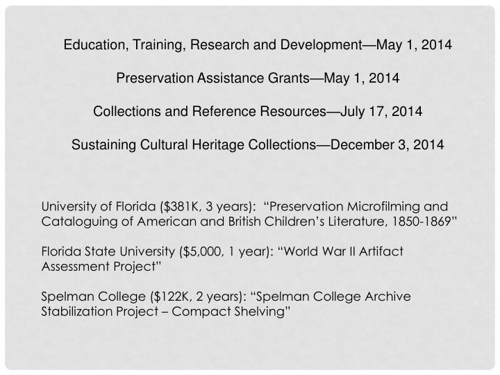 Education, Training, Research and Development—May 1, 2014