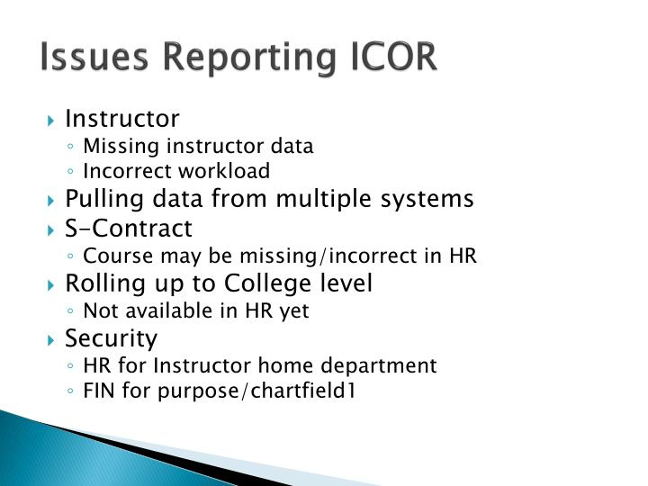 Issues Reporting ICOR
