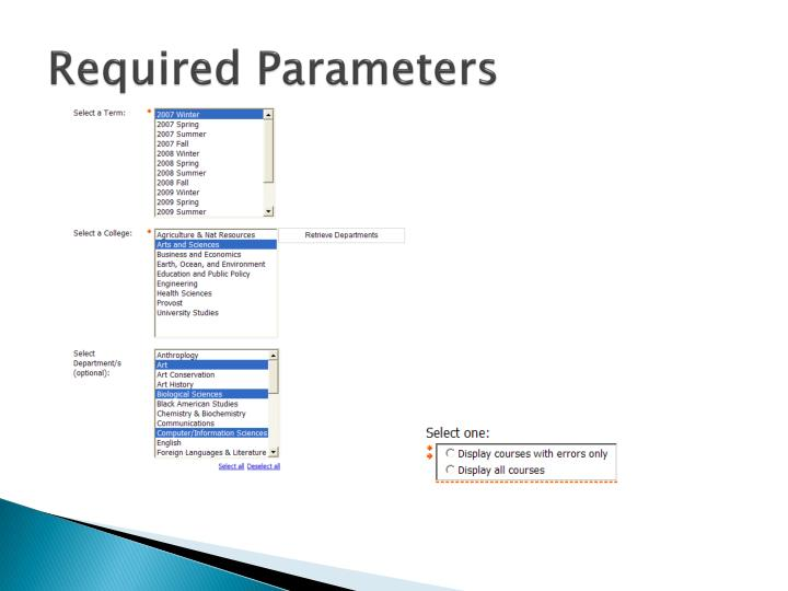 Required Parameters