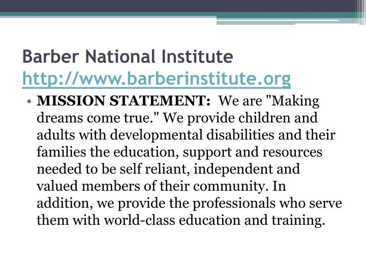 Barber National Institute