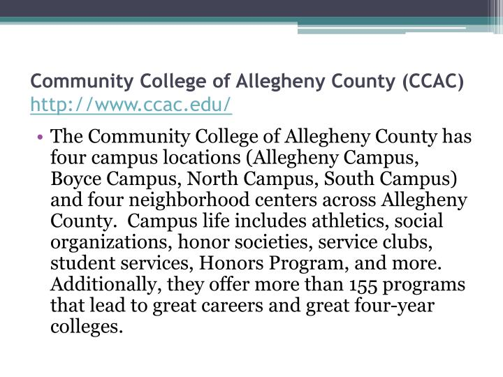 Community College of Allegheny County (CCAC)