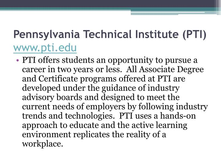 Pennsylvania Technical Institute (PTI)