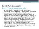 point park university http www pointpark edu
