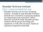 rosedale technical institute http www rosedaletech org