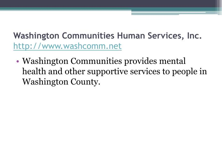 Washington Communities Human Services, Inc.