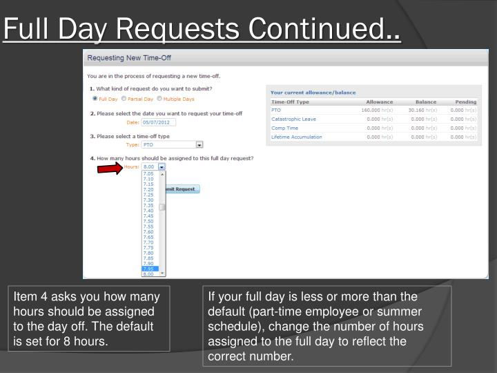 Full Day Requests Continued..