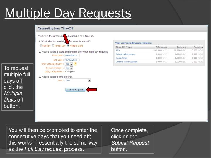 Multiple Day Requests