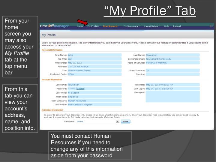 """My Profile"" Tab"