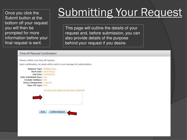 Submitting Your Request