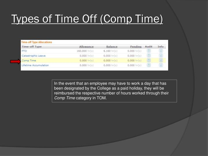 Types of Time Off (Comp Time)