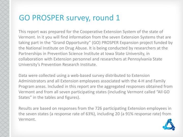 GO PROSPER survey, round 1