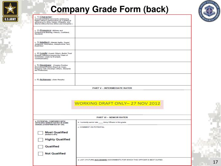 Company Grade Form (back)