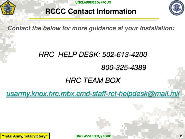 RCCC Contact Information