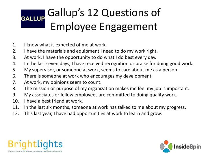 Gallup's 12 Questions of
