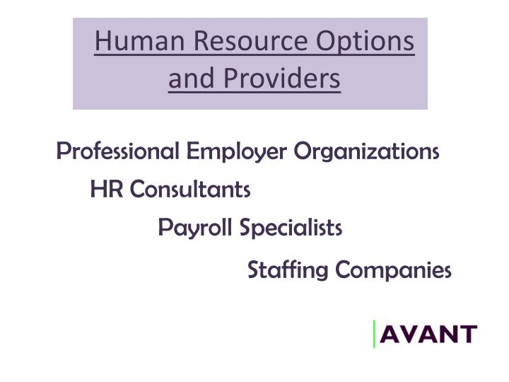 Human Resource Options