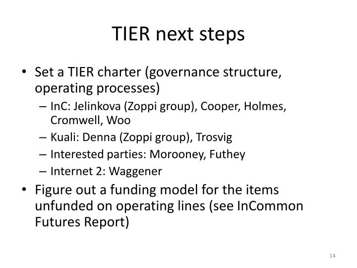 TIER next steps