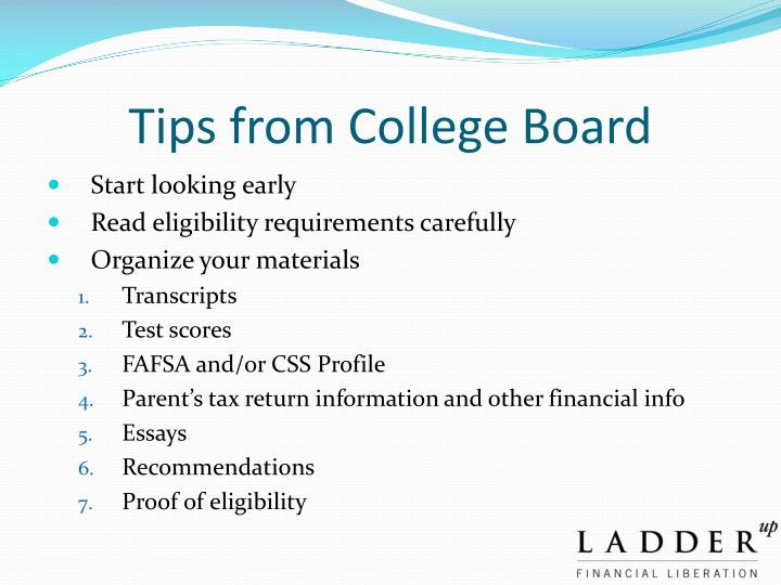Tips from College Board