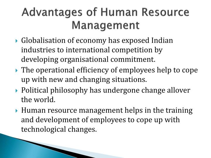 Advantages of Human Resource Management