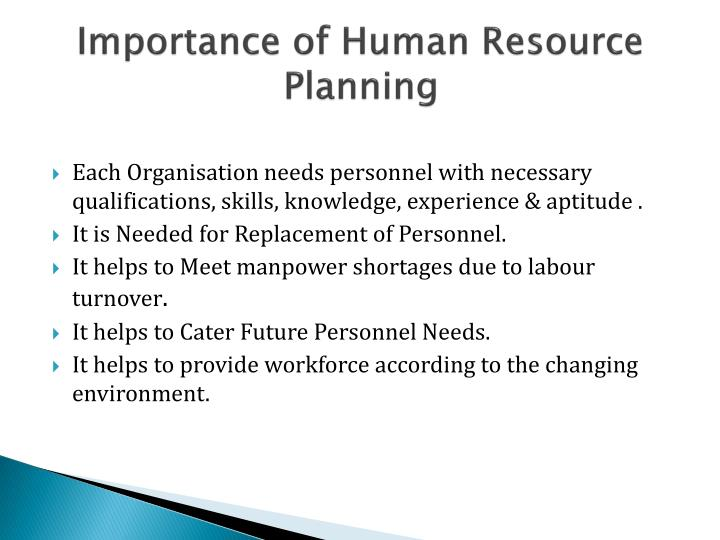 Importance of Human Resource Planning