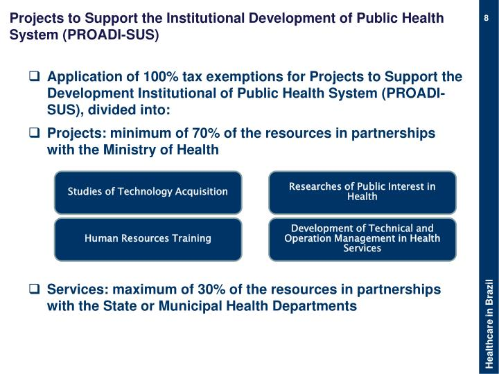 Projects to Support the Institutional Development of Public Health System (PROADI-SUS)