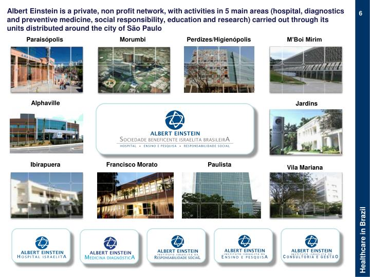 Albert Einstein is a private, non profit network, with activities in 5 main areas (hospital, diagnostics and preventive medicine, social responsibility, education and research) carried out through its units distributed around the city of São Paulo