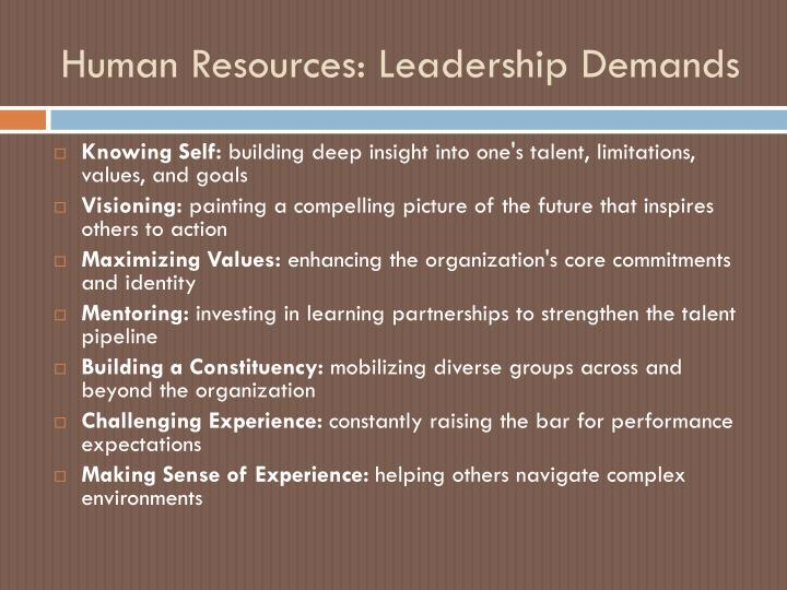 Human Resources: Leadership Demands