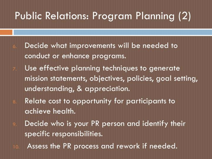 Public Relations: Program Planning