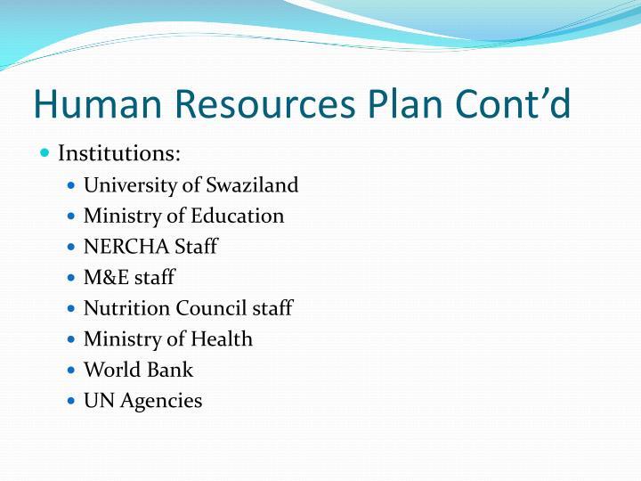 Human Resources Plan Cont'd