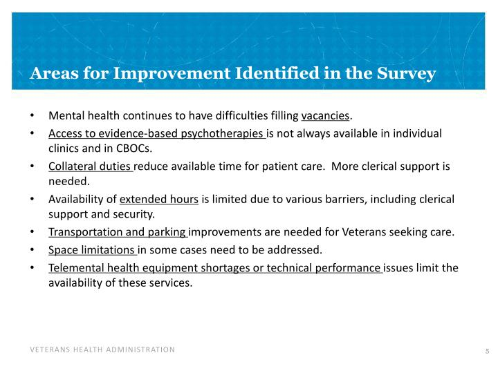 Areas for Improvement Identified in the